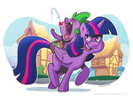 gems princess_twilight riding spike supacrikeydave twilight_sparkle