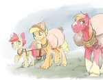 alternate_universe apple_bloom applejack big_macintosh cart highres silfoe
