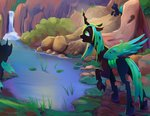 changeling highres pond queen_chrysalis scenery viwrastupr waterfall