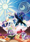 apple_bloom book cutie_mark_crusaders highres princess_celestia princess_luna s-bis scootaloo spike sweetie_belle