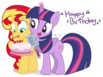 birthday birthday_cake cake candle dm29 microphone princess_twilight shipping sunlight sunset_shimmer text twilight_sparkle