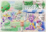 absurdres apples cookie_crumbles garden hat highres hondo_flanks ladder lawn lawnmower magic music_box original_character rarity sweetie_belle swing traditional_art tree xeviousgreenii