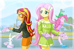 angel border equestria_girls fluttershy gummy humanized pinkie_pie sunset_shimmer uotapo