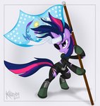 bandage catsuit eyepatch flag future_twilight killryde twilight_sparkle