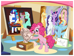 applejack art canvas cubism easel fluttershy gummy janeesper lyra_heartstrings main_six octavia_melody pinkie_pie rainbow_dash rarity twilight_sparkle vinyl_scratch