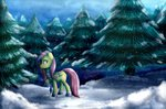boots fluttershy highres scarf snow trees unilx winter