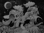 apples flutterbat fluttershy highres moon nighttime sharedast stars traditional_art tree