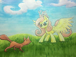 fluttershy fox kittyhawk-contrail rabbit traditional_art