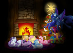 absurdres applejack artist-apprentice587 christmas christmas_tree fireplace fluttershy hat highres main_six pinkie_pie ponypile present princess_luna rainbow_dash rarity santa_hat sleeping twilight_sparkle