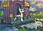 garden highres nighttime pedrohander shining_armor traditional_art trees water