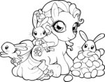 chibivi-linearts easter egg flowers highres original_character rabbit