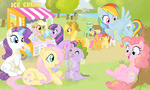 apple_bloom applejack bench cutie_mark_crusaders derpy_hooves elenafreckle fluttershy ice_cream lyra_heartstrings main_six original_character pinkie_pie rainbow_dash rarity scootaloo spike sweetie_belle sweetie_drops time_turner twilight_sparkle