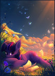 atlas-66 book butterfly dream flowers highres pen ponyville twilight_sparkle