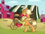 apple_bloom applejack crazypon3 hugs pie sweet_apple_acres wagon