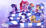 applejack bukoya-star fluttershy highres main_six pinkie_pie rainbow_dash rarity scarf twilight_sparkle