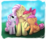 apple_bloom cutie_mark_crusaders fluttershy scootaloo shema-the-lioness sweetie_belle
