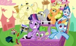 apple_bloom applejack derpy_hooves flockdraw fluttershy main_six pinkie_pie rainbow_dash rarity rollercoaster shutterflye spike theme_park twilight_sparkle