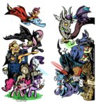 applejack batman cane cape costume dalek derpy_hooves discord doctor_who flam flim flim_flam_brothers flim_skim fluttershy gilda glasses hat iron_will lightsaber looney_toons madame_leflour main_six pinkie_pie pipe queen_chrysalis rainbow_dash rarity scootaloo sherlock_holmes southparktaoist star_wars superman tardis the_great_and_powerful_trixie the_matrix time_turner transparent twilight_sparkle weapon
