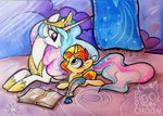 absurdres book filly highres princess_celestia psychoon quill sunset_shimmer