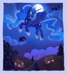 bat flying highres moon nighttime princess_luna the-hare