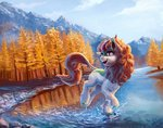 autumn autumn_blaze highres kirin mountain nemo2d scenery trees water