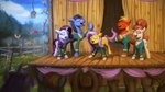 applejack assasinmonkey big_macintosh bird fluttershy highres rainbow_dash rarity singing sweater the_ponytones toe-tapper torch_song twilight_sparkle