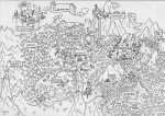 canterlot cloudsdale equestria everfree_forest grayscale lineart map matims scenery sweet_apple_acres