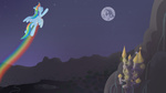 canterlot highres mare_in_the_moon minimoose772 moon rainbow_dash scenery