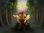 flying forest guitar highres klarapl rainbow_dash scootaloo