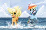 applejack beach highres johnjoseco rainbow_dash