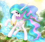 absurdres forest highres joakaha princess_celestia trees water waterfall