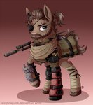 big_boss eyepatch gun knife metal_gear_solid ponified rainbowjune scar weapon