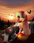 absurdres birds cup flowers graypillow highres magic sunset_shimmer
