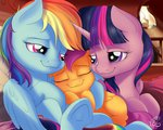 highres nobody47 rainbow_dash scootaloo shipping sleeping twidash twilight_sparkle