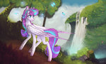 absurdres butterfly grown_up highres lovely-pony princess_flurry_heart trees waterfall