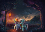 atlas-66 cloud fleetfoot flowers highres lantern necklace nighttime path rainbow_dash scenery shipping stars trees water