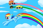 blossom bubbles_(ppg) buttercup crossover rainbow_dash syggie the_powerpuff_girls