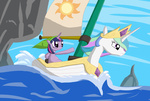 boat crossover highres not_that_kind_of_shipping parody princess_celestia qaxis the_legend_of_zelda twilight_sparkle wind_waker