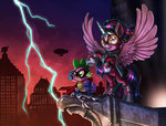costume harwick highres humdrum lightning masked_matterhorn power_ponies princess_twilight spike twilight_sparkle