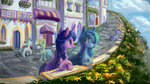 canterlot disguise flowers highres plainoasis princess_luna scenery twilight_sparkle