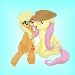 applejack artist_unknown fluttershy hugs