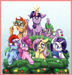 applejack border candy christmas fluttershy hat inuhoshi-to-darkpen main_six pinkie_pie rainbow_dash rarity santa_hat scarf spike twilight_sparkle