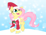 christmas coat fluttershy hat highres holly leadhooves nicolai-b santa_hat snow snowing winter