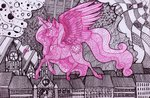 absurdres flying highres horselike kimsteinandother princess_cadance traditional_art