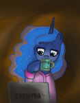 bedhead coffee computer i_shall_not_use_my_hooves_as_hands katakiri princess_luna robe