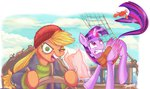 applejack clothes crab jowybean magic princess_twilight ship twilight_sparkle
