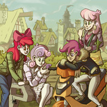 apple_bloom cheerilee cutie_mark_crusaders humanized livestream phone ponyville scootaloo scooter sweetie_belle the_artrix