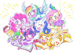 applejack book cake flowers fluttershy main_six pinkie_pie princess_twilight rainbow_dash rarity riffa-nosuke spike twilight_sparkle