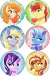 bright_mac dennyvixen derpy_hooves flowers heart pear_butter starlight_glimmer sunset_shimmer the_great_and_powerful_trixie