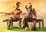 anthro applejack audrarius basket bench flutterjack fluttershy guitar happy_100k_everybody highres shipping
